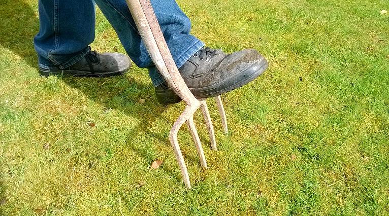 Gartenarbeit mit Grabegabel