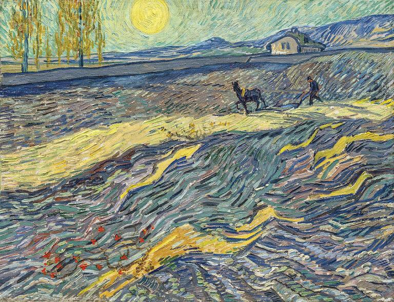 Berühmte Kunstwerke: Van_Gogh: Acker mit pflügenden Bauern