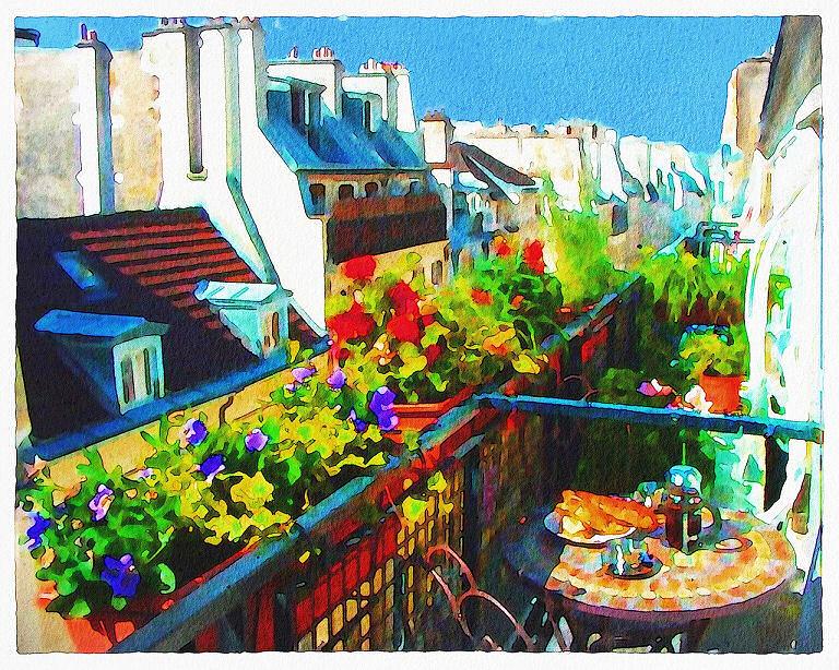 Balkon mit Blumen in Paris - Aquarell