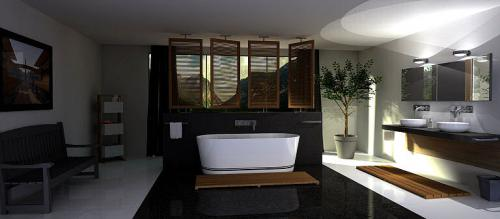 Ein großes Bad mit sehr viel Platz