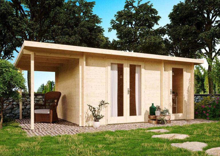 Moderne Gartenhäuser gibt es auch mit einer kleinen Terrasse.