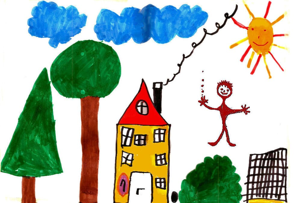 Ein Zaun gehört wohl zu jedem Garten - wie ein Haus, Bäume, Sträucher und ein Sonnenkind.
